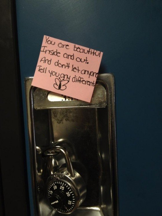 Someone took the time to post this same note on over 600 lockers just to make the owner of the locker feel good.